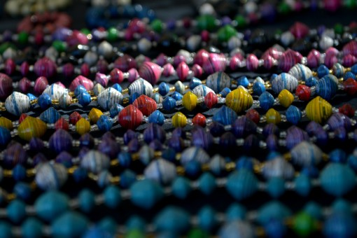 Varnished paper beads