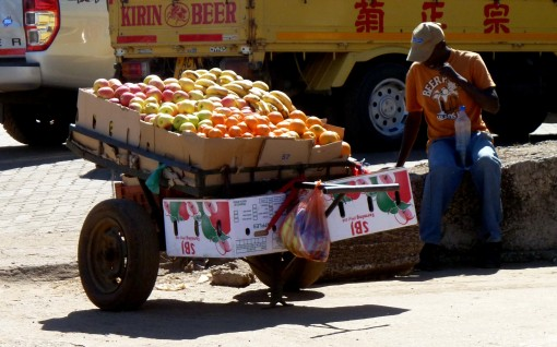 "A fruit vendor in the industrial sites of Harare. A bottle of water to ""clean"" your purchase..."