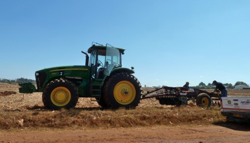 A tractor sets up for a demonstration