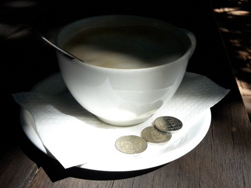Bond coins - not enough for this cup of coffee!